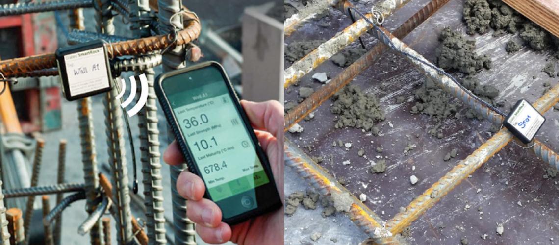 SmartRock en fundación pilar y losas, sensores y app móvil